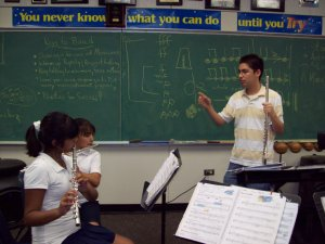 Chaz leading a flute sectional