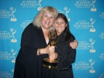 "Roberto Granados and Executive Producer Laurie Donnelly at the Emmys with the award for ""From the Top at Carnegie Hall"""