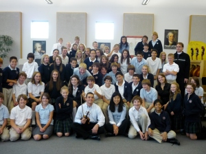 Will Hagen with Waterford School students in Sandy, Utah during From the Top's community event