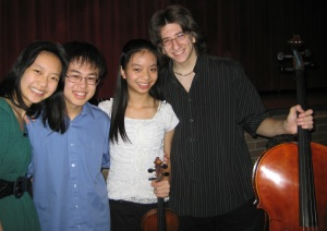 Allen Yu with fellow alums Sirena Huang and Julian Langford (and Sirena's sister).